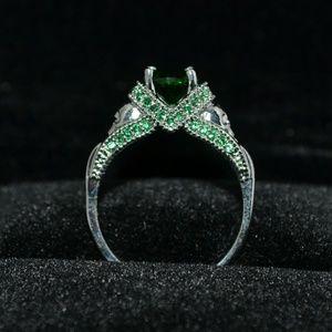 14k stamped white gold filled emerald skulls ring